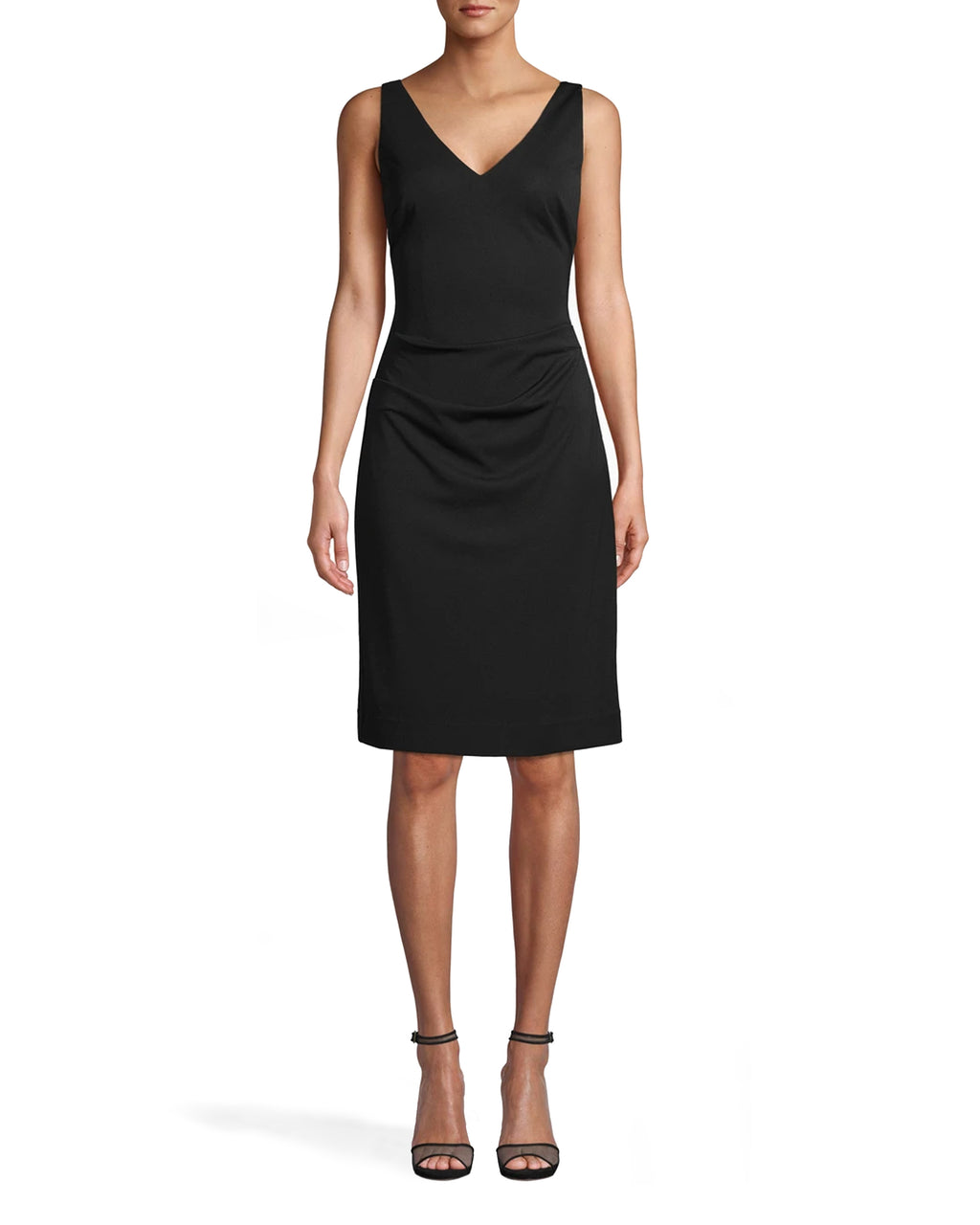 CE18027 - STRETCHY MATTE JERSEY DRESS - dresses - short - EVERY CLOSET NEEDS A LBD. THIS CLASSIC STYLE CAN BE WORN EVERYWHERE FROM A WEDDING TO THE OFFICE. FEATURES BRA FRIENDLY STRAPS, A FLATTERING SIDE TUCK, AND KNEE LENGTH HEMLINE. BACK ZIPPER FOR CLOSURE. Add 1 line break STYLIST TIP: DRESS IT UP WITH STATEMENT SHOES OR JEWELRY.