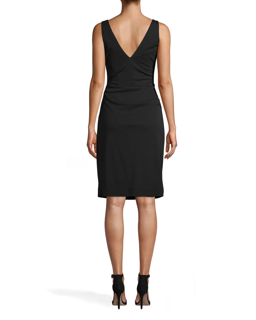 CE18027 - STRETCHY MATTE JERSEY DRESS - dresses - short - EVERY CLOSET NEEDS A LBD. THIS CLASSIC STYLE CAN BE WORN EVERYWHERE FROM A WEDDING TO THE OFFICE. FEATURES BRA FRIENDLY STRAPS, A FLATTERING SIDE TUCK, AND KNEE LENGTH HEMLINE. BACK ZIPPER FOR CLOSURE. Add 1 line break STYLIST TIP: DRESS IT UP WITH STATEMENT SHOES OR JEWELRY. Alternate View
