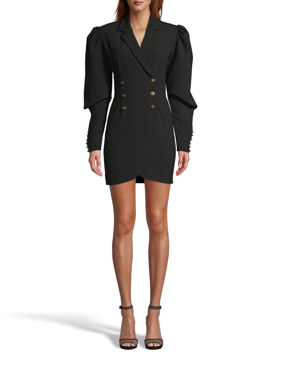 CE18080 - TECHY CREPE DOUBLE BREASTED BLAZER DRESS - dresses - short - Our double breasted blazer dress is designed in heavy techy crepe fabric and features a statement puff sleeve with gold orante button details on the sleeves and body. Add 1 line break Stylist tip: Style with black booties like on from our Fall 2020 catwalk.