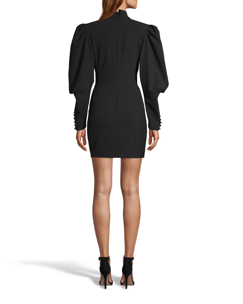 CE18080 - TECHY CREPE DOUBLE BREASTED BLAZER DRESS - dresses - short - Our double breasted blazer dress is designed in heavy techy crepe fabric and features a statement puff sleeve with gold orante button details on the sleeves and body. Add 1 line break Stylist tip: Style with black booties like on from our Fall 2020 catwalk. Alternate View