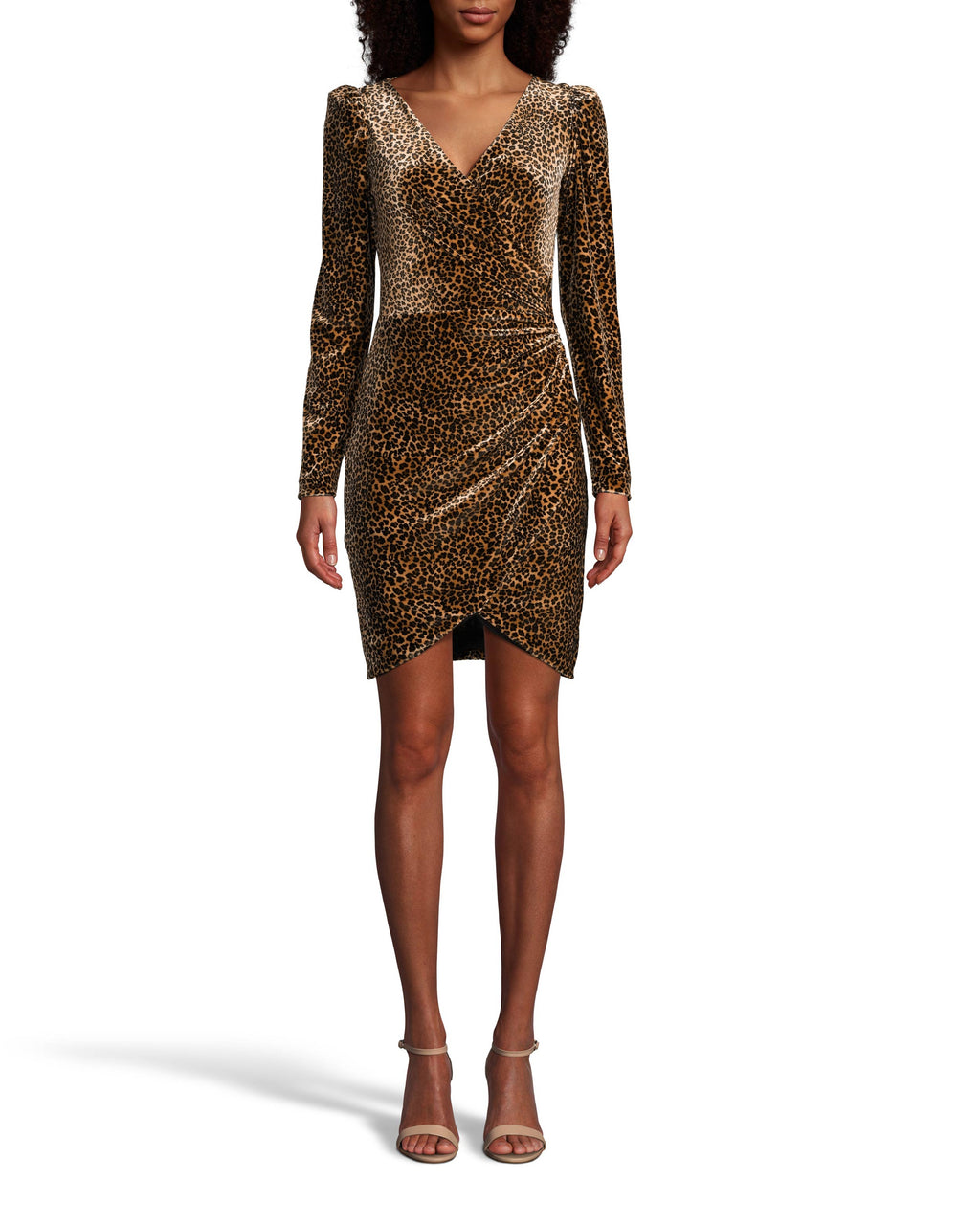 CE18120 - LEOPARD VELVET FAUX WRAP DRESS - dresses - short - A flattering faux wrap and deep v-neck accentuate your silhouette. This classic leopard print is brought to life in soft velvet that hugs your curves without being restrictive. Back zipper for closure. Add 1 line break Stylist tip: Pair with a low pony and booties for a chic city look.