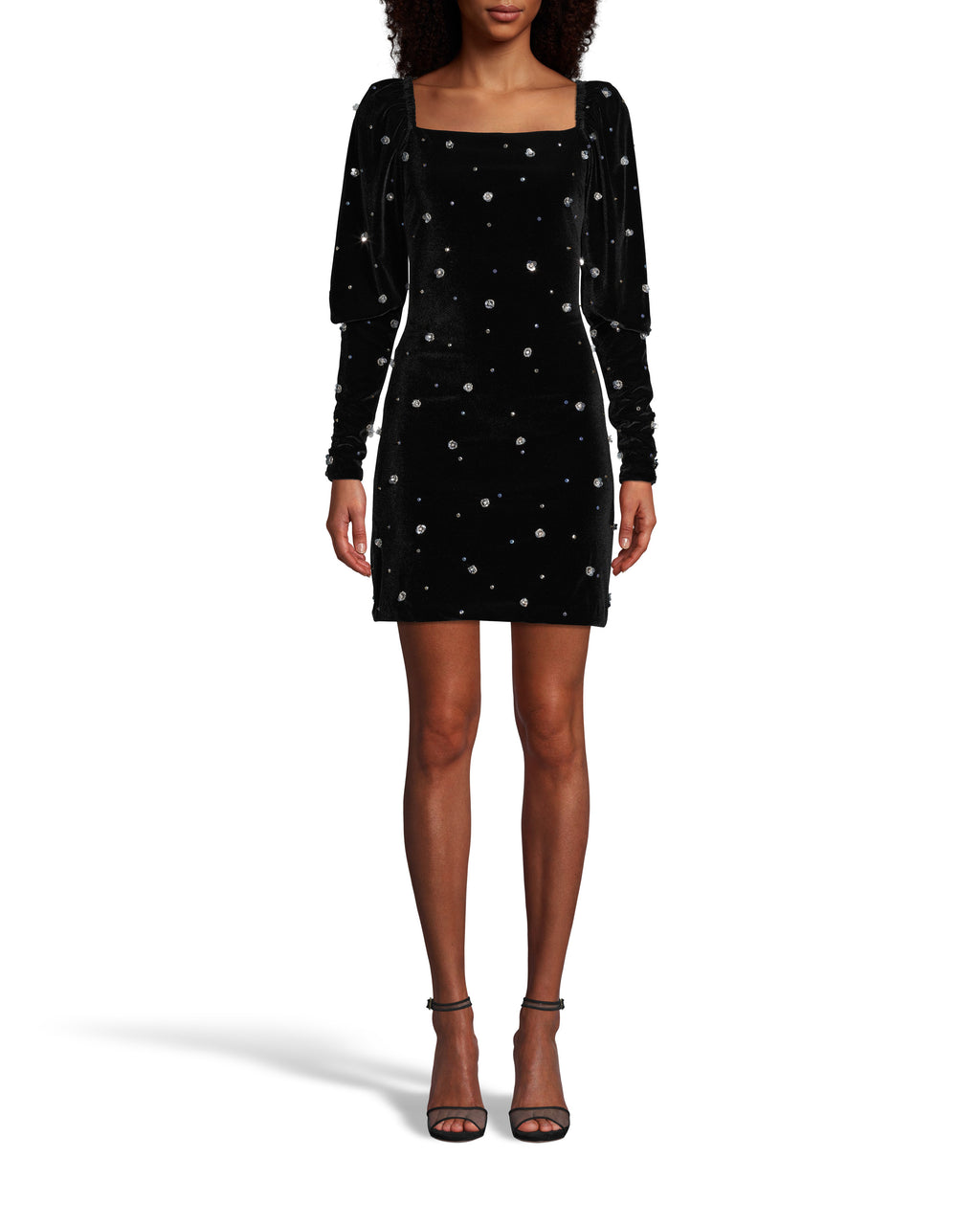 CE18130 - EMBELLISHED VELVET SQUARE NECK MINI DRESS - dresses - short - Straight from the Fall 2020 Runway, this statement mini is crafted from soft velvet with sparkling flower embellishments throughout. Featuring an on trend sqaure neckline with puffed sleeves. Back zipper for closure. Add 1 line break Stylist tip: Dress it up with heels or down with combat boots.