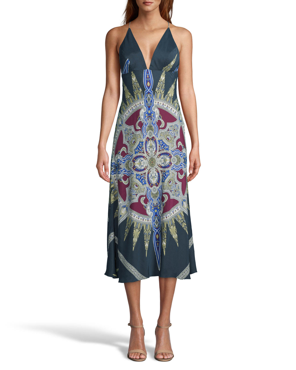 CE18150 - INDIGO MEDALLION SILK MIDI SLIP DRESS - dresses - long - The perfect transition piece. This lightweight silk slip dress is designed in our new indigo medallion print and is perfect for warm fall days. Featuring slim spaghetti straps that cross in the back and a flattering v neck. Add 1 line break Stylist tip: Pair with a leather jacket like on the Fall 2020 Runway for a cool, stylish look.