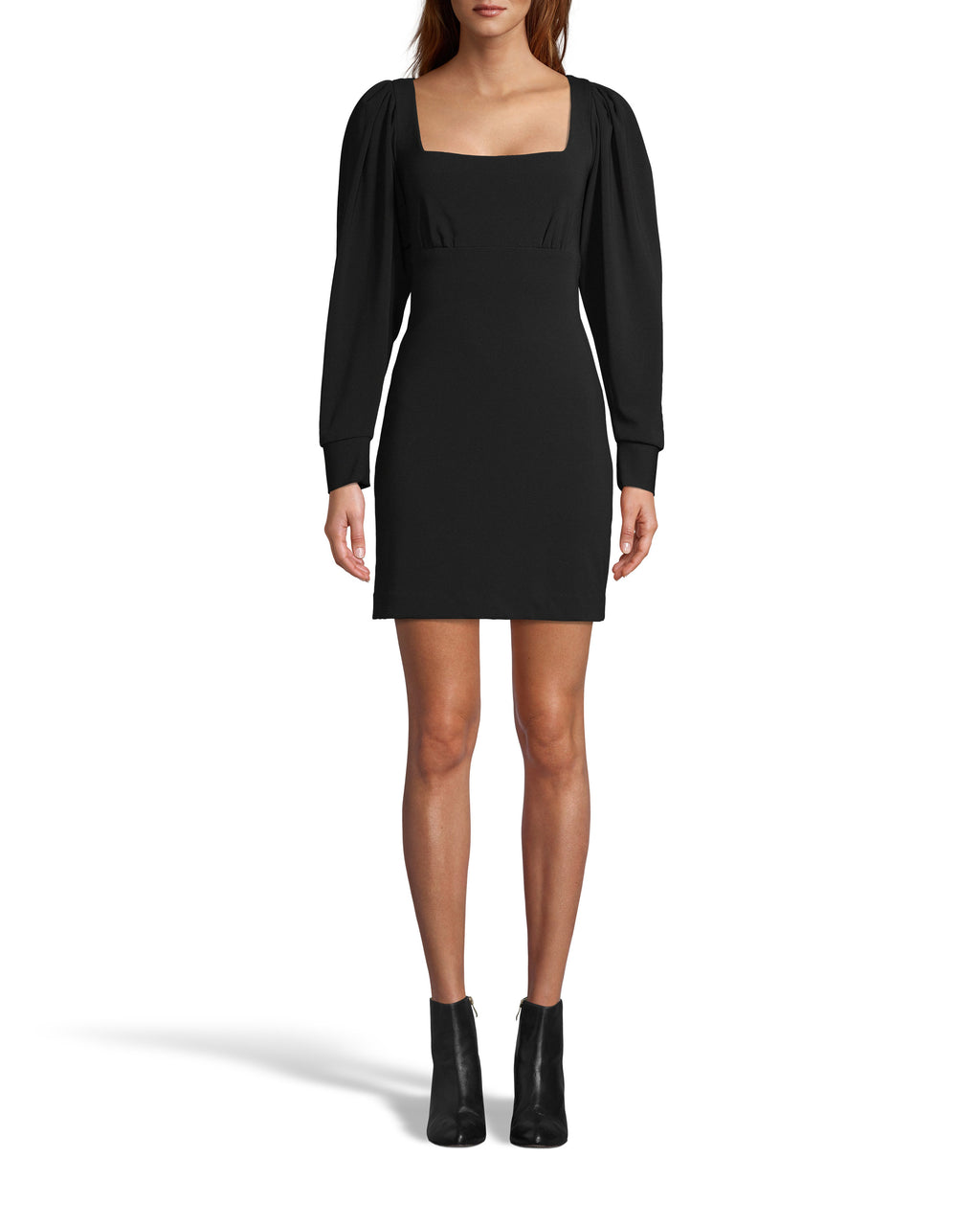 CE18154 - HEAVY JERSEY X-BACK MINI DRESS - dresses - short - The perfect LBD. This mini dress features long sleeves, a square neckline and an open x-back. Matte gold buttons and a back zipper for closure. Add 1 line break Stylist tip: Dress it down with boots or up with heels.