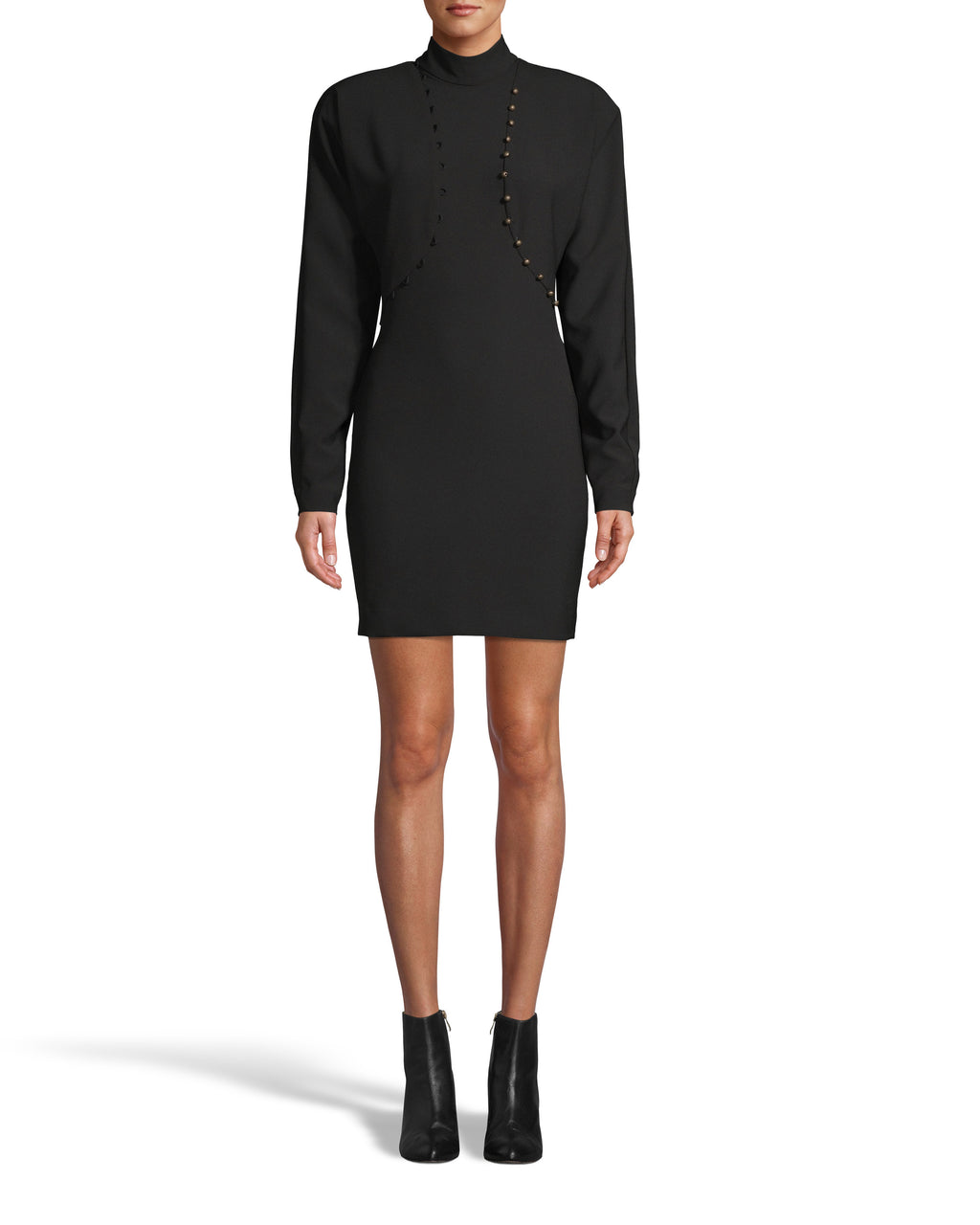 CE18168 - TECHY CREPE MOCK NECK DRESS W/ BUTTON DETAIL - dresses - short - As seen on our Fall 2020 runway, this little black dress is updated with a slight mock, matte gold buttons and a puff sleeve. Subtle seams on the back for added detail. Add 1 line break Stylist tip: Style with heels or booties depending on the occasion.