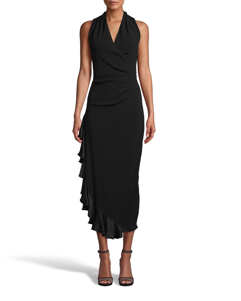 CE18274 - SATIN BACK CREPE MIDI DRESS W/ RUFFLE - dresses - midi - Satin midi dresses are a staple of Fall 2020. This bra friendly style features a side ruffle detail and fabric tucking at the waist for a slimming fit. Back zipper for closure. Add 1 line break Stylist tip: Wear with simple heels and bold jewelry.