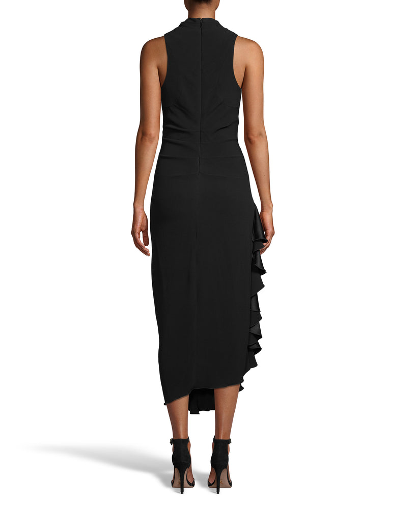 CE18274 - SATIN BACK CREPE MIDI DRESS W/ RUFFLE - dresses - midi - Satin midi dresses are a staple of Fall 2020. This bra friendly style features a side ruffle detail and fabric tucking at the waist for a slimming fit. Back zipper for closure. Add 1 line break Stylist tip: Wear with simple heels and bold jewelry. Alternate View