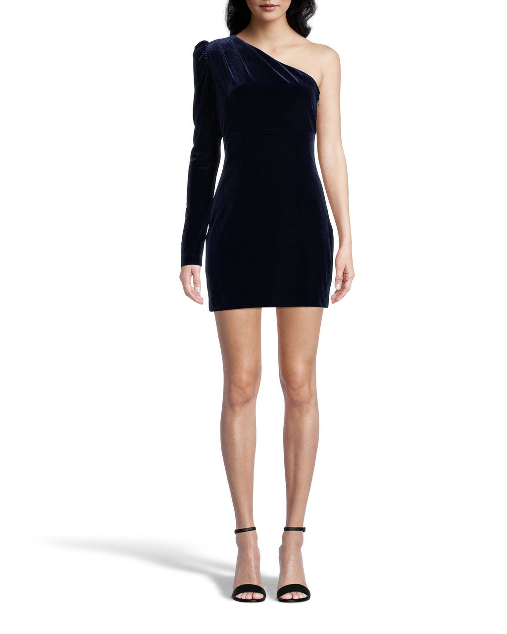 CE18476 - ONE SHOULDER VELVET MINI DRESS - dresses - short - Crafted from deep navy velvet, this perfect party dress flatters all body types. One shoulder with a puff sleeve and a slightly cinched waist. Add 1 line break Stylist tip: Pair with strappy sandals and sparkly earrings.