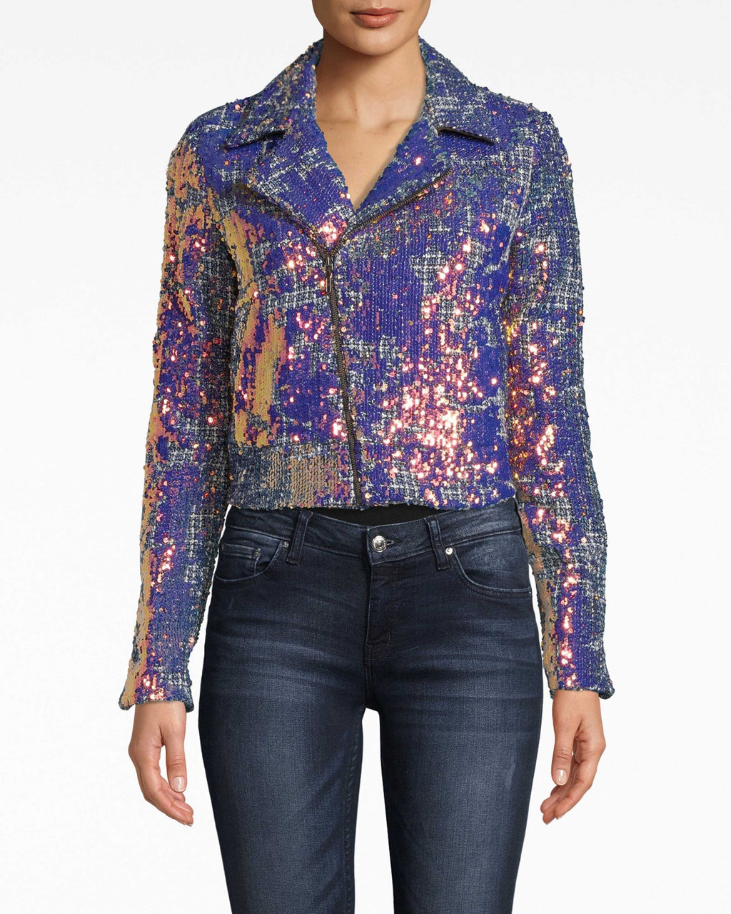CE20016 - MOTO JACKET - outerwear - jackets - Sparkle baby. Our Moto Jacket is a sequin-covered update to the classic style. The wide collar opens up the shoulders. Asymmetrical front zip.