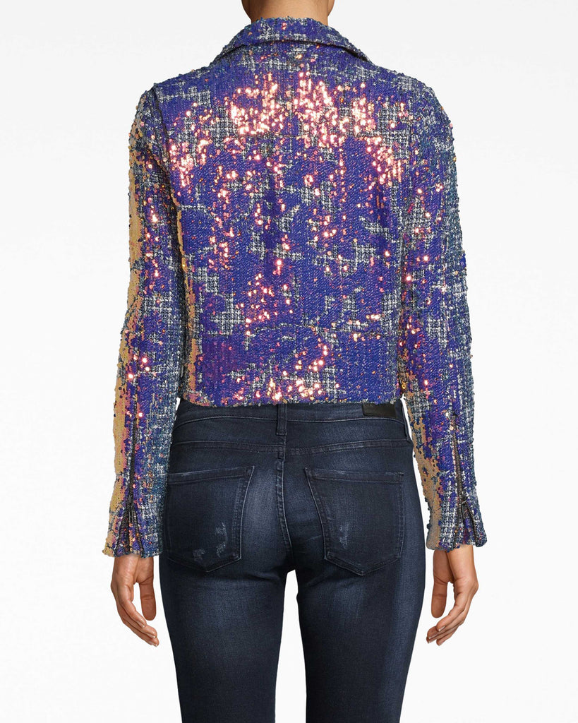 CE20016 - MOTO JACKET - outerwear - jackets - Sparkle baby. Our Moto Jacket is a sequin-covered update to the classic style. The wide collar opens up the shoulders. Asymmetrical front zip. Alternate View