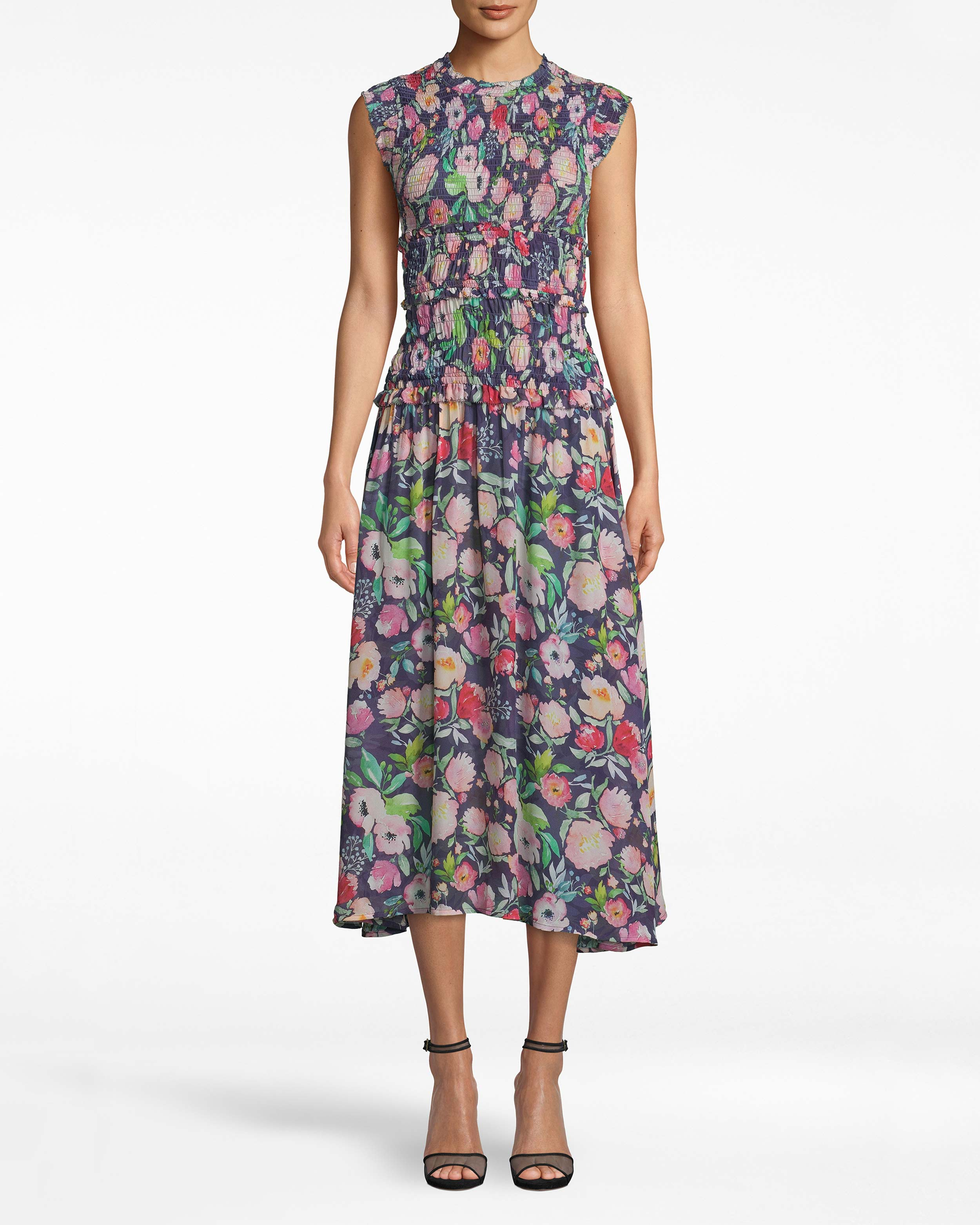 nicole miller watercolor floral smocked midi dress | polyester/spandex/viscose | size petite