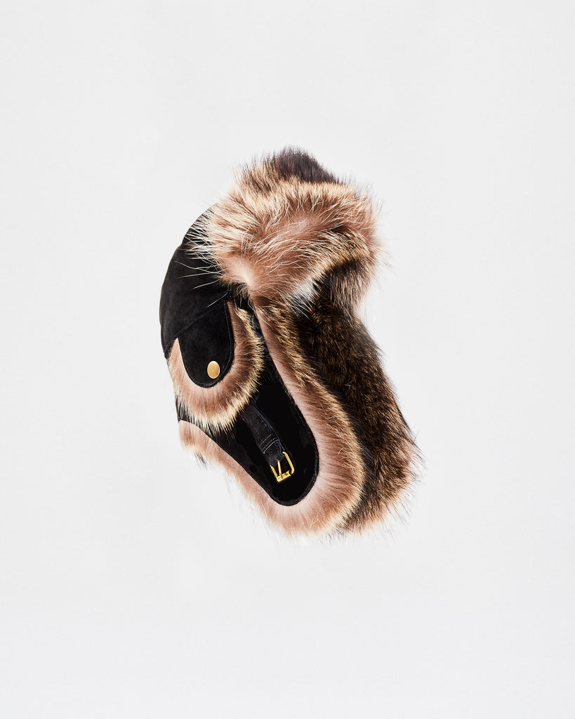 CF10116 - FOX TRIM AND LEATHER COMBO TRAPPER HAT - outerwear - jackets - This Trapper Hat is finished in fox fur and leather. A stylish and practical addition to top off your winter wardrobe. Alternate View