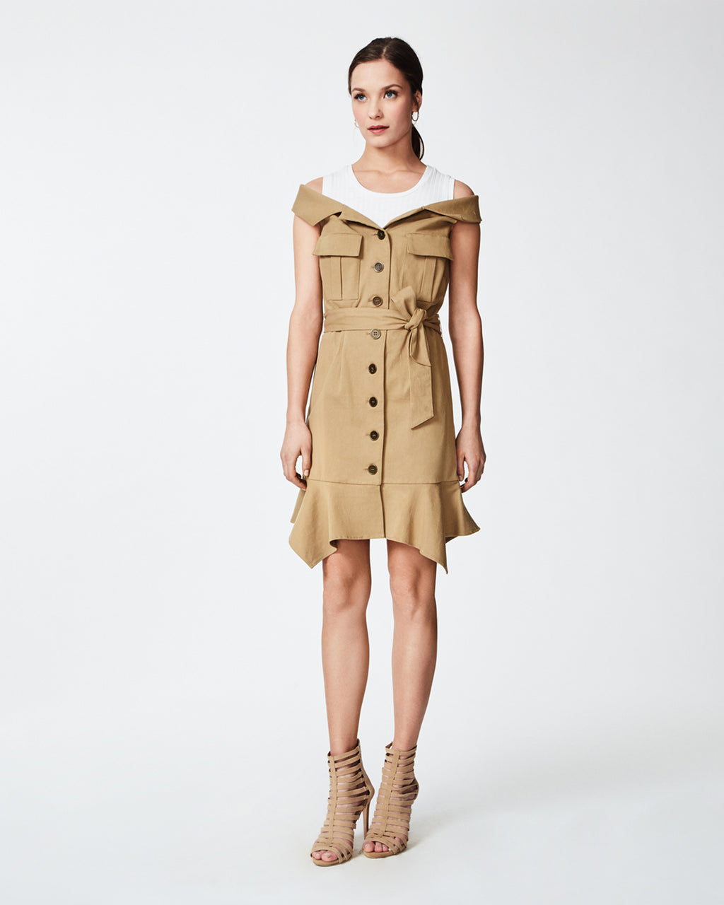 CF10220 - TRENCH DRESS - dresses - short - Trench is the forever chic. The detachable crop top on this dress adds a little fun, while the tarnish hardware completes the look. Finished with a flunce hem and tie belt. Unlined.