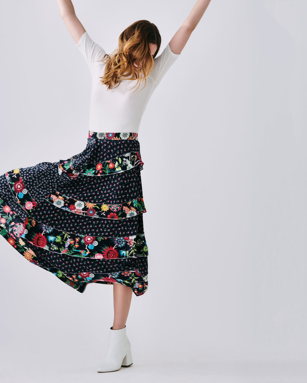 CF10236 - DITZY DANDELION MAXI SKIRT - bottoms - skirts - In a mix of floral prints, this maxi skirt features tiered ruffled and an asymmetrical hemline. Finished with a concealed zipper for closure and unlined. Can be worn with zipper in the back or side.�