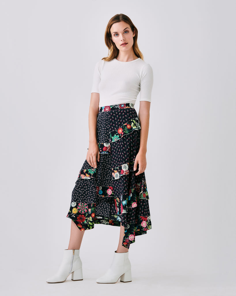 CF10236 - DITZY DANDELION MAXI SKIRT - bottoms - skirts - In a mix of floral prints, this maxi skirt features tiered ruffled and an asymmetrical hemline. Finished with a concealed zipper for closure and unlined. Can be worn with zipper in the back or side.� Alternate View