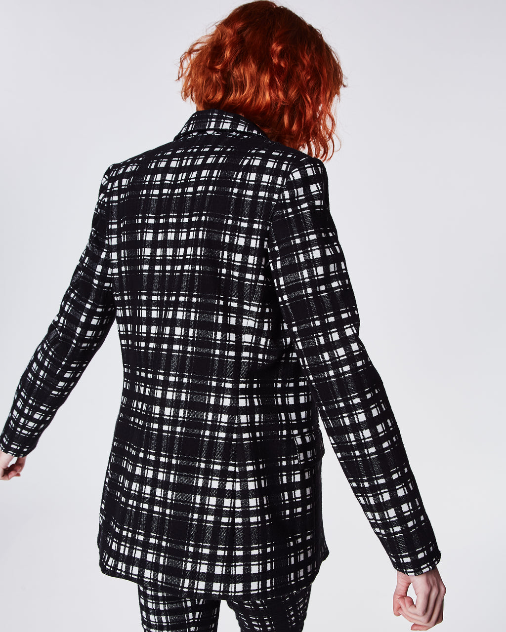 CF10245 - BRUSHED PLAID BLAZER - outerwear - jackets - In a black and white plaid, this tailored blazer features a triple breasted closure and fully lined. Pair it with the matching pant to create the perfect modern suit or style with jeans for a more casual look.