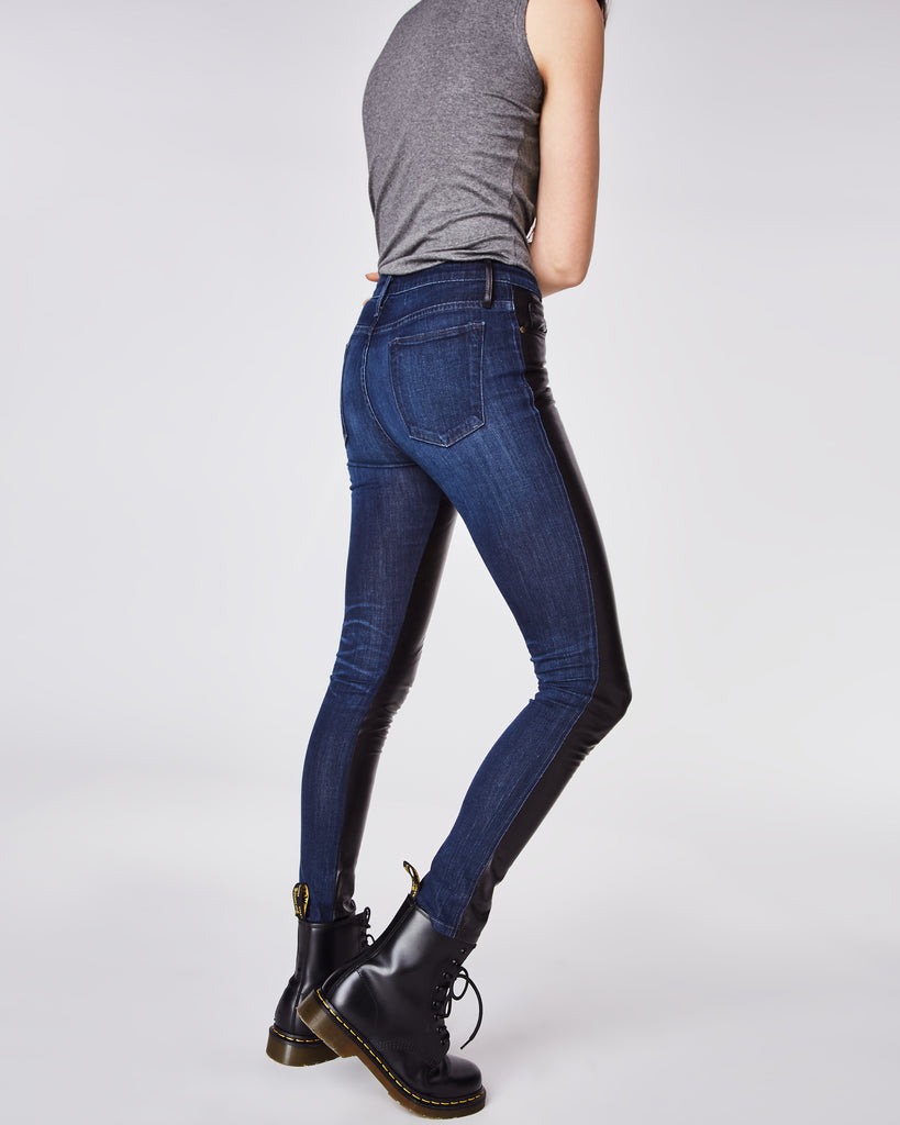 CF10254 - LEATHER AND DENIM JEAN - bottoms - denim - With full leather paneling on the front and denim on the back, these skinny jeans are perfect for day to night wear. Finished with a zipper and button for closure and unlined. Alternate View