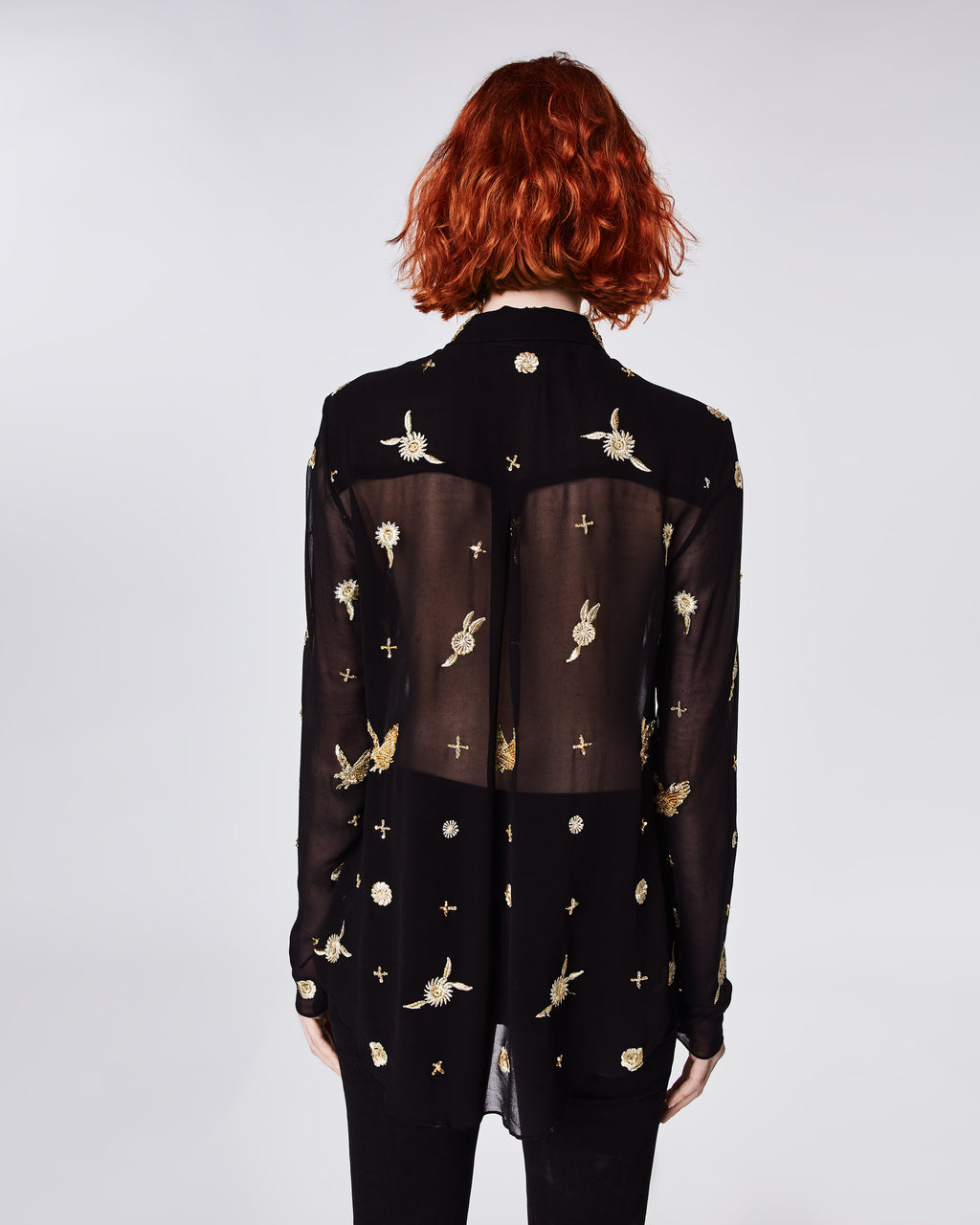 CF10257 - EMBELLISHED EAGLE BOYFRIEND SHIRT - tops - blouses - In a translucent black silk, this boyfriend blousefeatures intricate gold embroidery through out. Unlined.