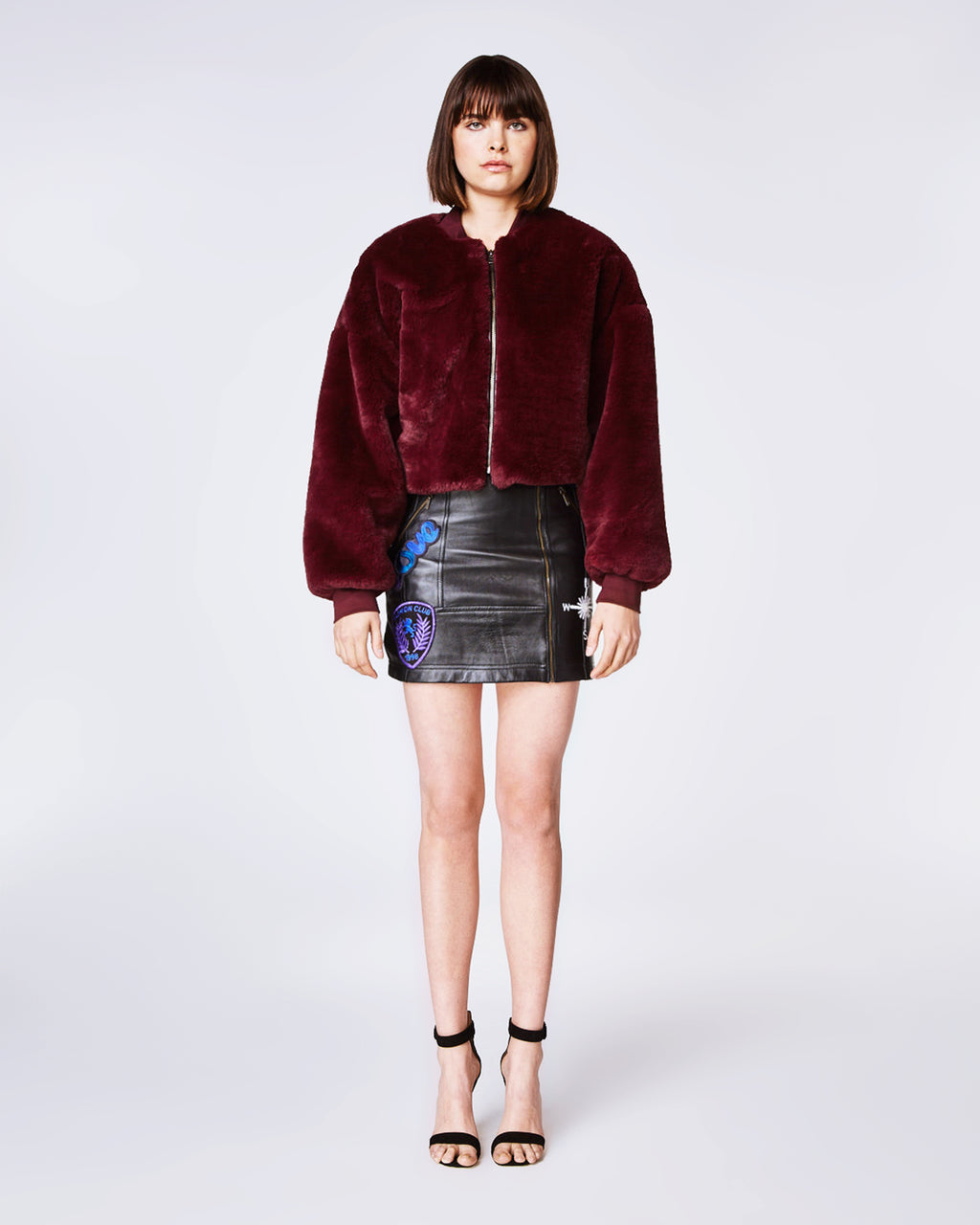 CF10259 - PLUSH FAUX FUR CHUBBY - outerwear - coats - In an ultra-soft faux fur, this wine-colored cropped jacket can easily be paired with jeans andsneakers for a chic and casual look. Finished withan exposed zipper for closure and fully lined.
