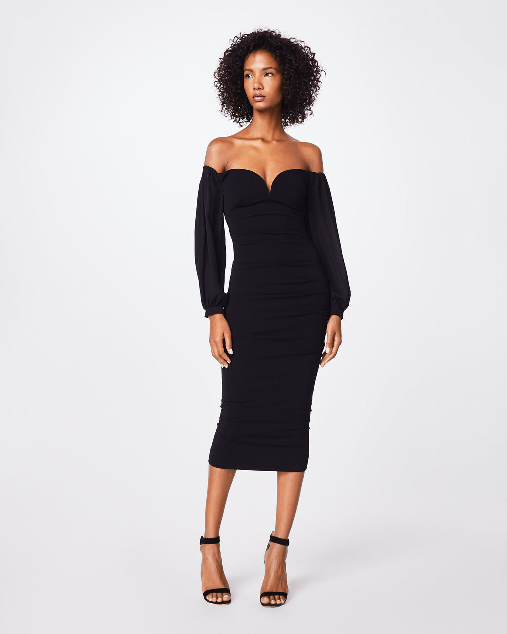 CF10265 - STRUCTURED HEAVY JERSEY PLUNGE DRESS - dresses - midi - The little black dress, but better. This long-sleeve, off the shoulder dress clinches at the waist and falls below the knee.