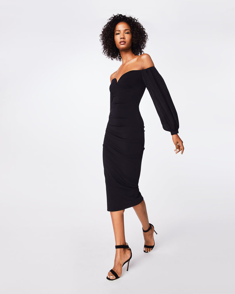 CF10265 - STRUCTURED HEAVY JERSEY PLUNGE DRESS - dresses - midi - The little black dress, but better. This long-sleeve, off the shoulder dress clinches at the waist and falls below the knee. Alternate View