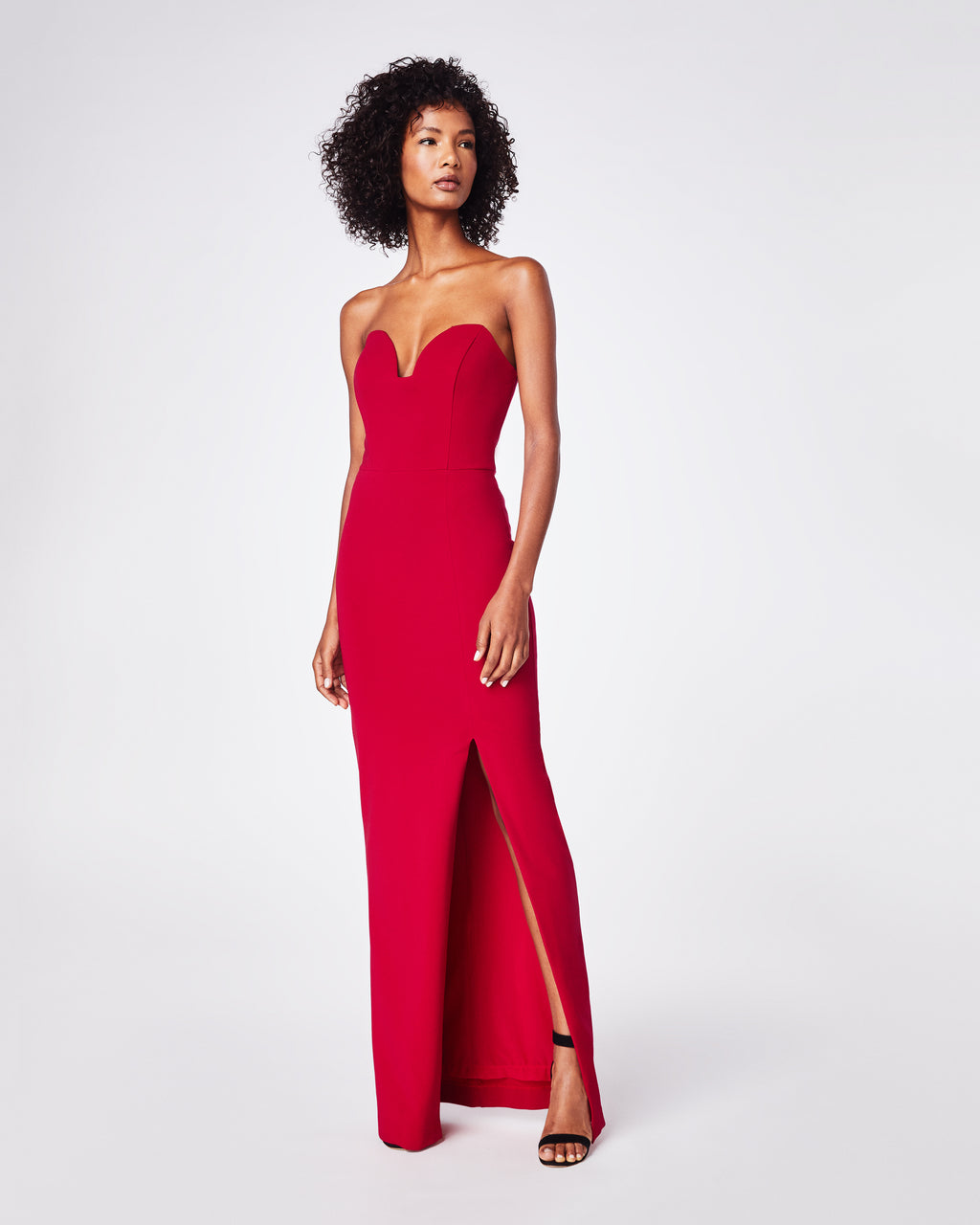 CF10266 - STRUCTURED HEAVY JERSEY STRAPLESS GOWN - dresses - long - This gown is made from stretchy matte jersey, a soft and comfortable fabric. It has a sweatheart plunge neckline. The long length makes it perfect for any black tie event.