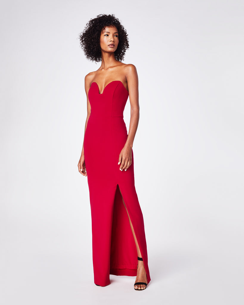 CF10266 - STRUCTURED HEAVY JERSEY STRAPLESS GOWN - dresses - long - This gown is made from stretchy matte jersey, a soft and comfortable fabric. It has a sweatheart plunge neckline. The long length makes it perfect for any black tie event. Alternate View