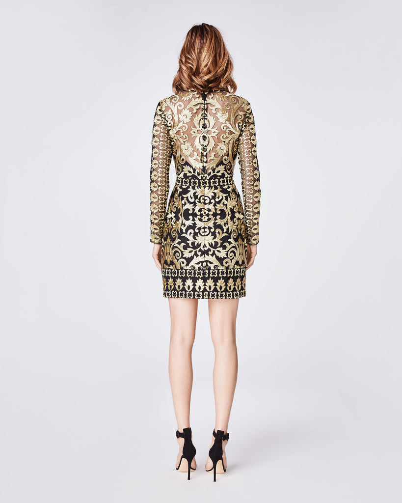 CF10267 - SCROLL EMBROIDERY LONG SLEEVE ILLUSION DRESS - dresses - short - Downtown rocker meets uptown chic in this structured, longsleeve statement dress. It feautures a center back concealed zipper with hook and eye closure. Final Sale Alternate View