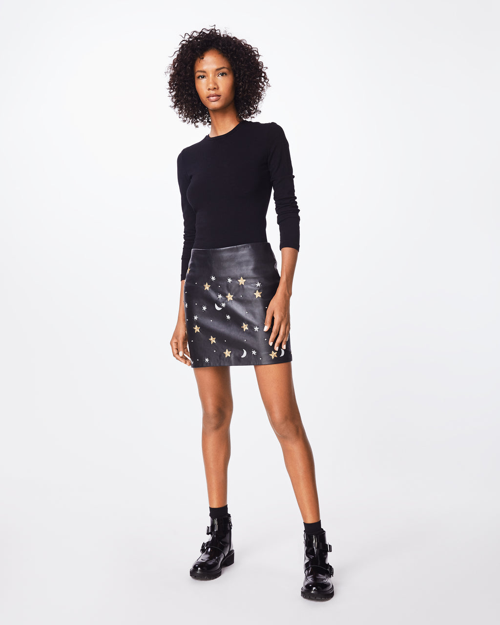 CF10268 - STARRY NIGHT EMBELLISHED MINI SKIRT - bottoms - skirts - This sheep leather mini skirt is finished with embellished silver and gold stars throughout. Exposed back zipper for closure.