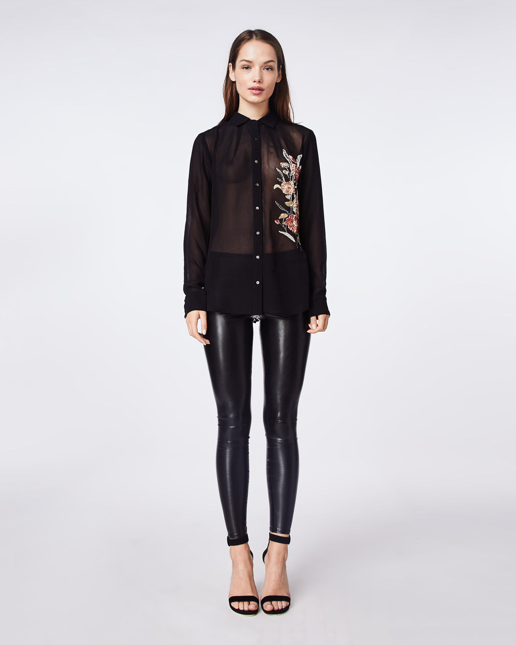 CF10275 - FALLING FLOWERS EMBROIDERY BOYFRIEND BLOUSE - tops - blouses - WITH THE FLORAL EMBROIDERY, THIS BLACK SHEER BUTTON UP TOP IS A GO TO WHEN YOU NEED TO DRESS IT UP, BUT STILL WANT TO HAVE SOME FLARE IN YOUR OUTFIT.