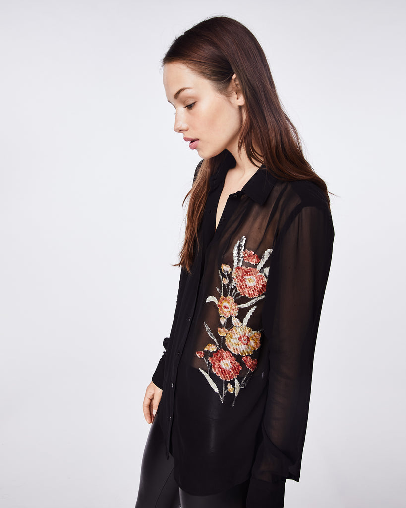 CF10275 - FALLING FLOWERS EMBROIDERY BOYFRIEND BLOUSE - tops - blouses - WITH THE FLORAL EMBROIDERY, THIS BLACK SHEER BUTTON UP TOP IS A GO TO WHEN YOU NEED TO DRESS IT UP, BUT STILL WANT TO HAVE SOME FLARE IN YOUR OUTFIT. Alternate View