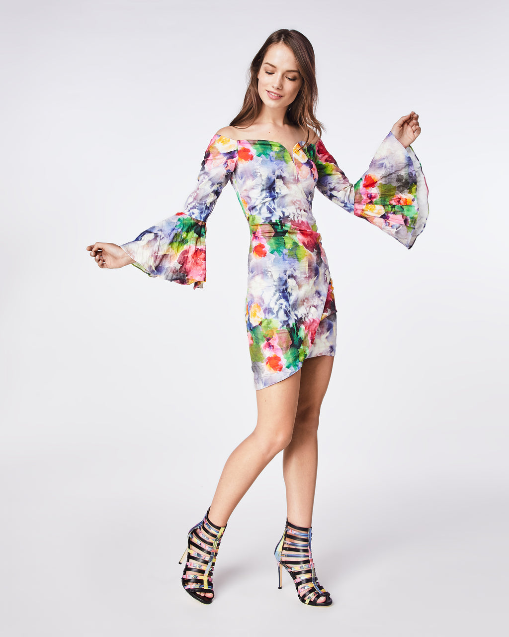 CF10278 - FAINT FLOWERS BELL SLEEVE DRESS - dresses - short - A statement dress with it's bold, floral print. With bell sleeves and asymmetrical skirt, this silhouette is great for an upcoming event or special night out.