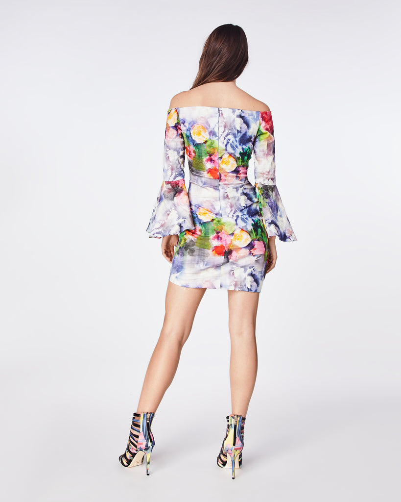 CF10278 - FAINT FLOWERS BELL SLEEVE DRESS - dresses - short - A statement dress with it's bold, floral print. With bell sleeves and asymmetrical skirt, this silhouette is great for an upcoming event or special night out. Alternate View