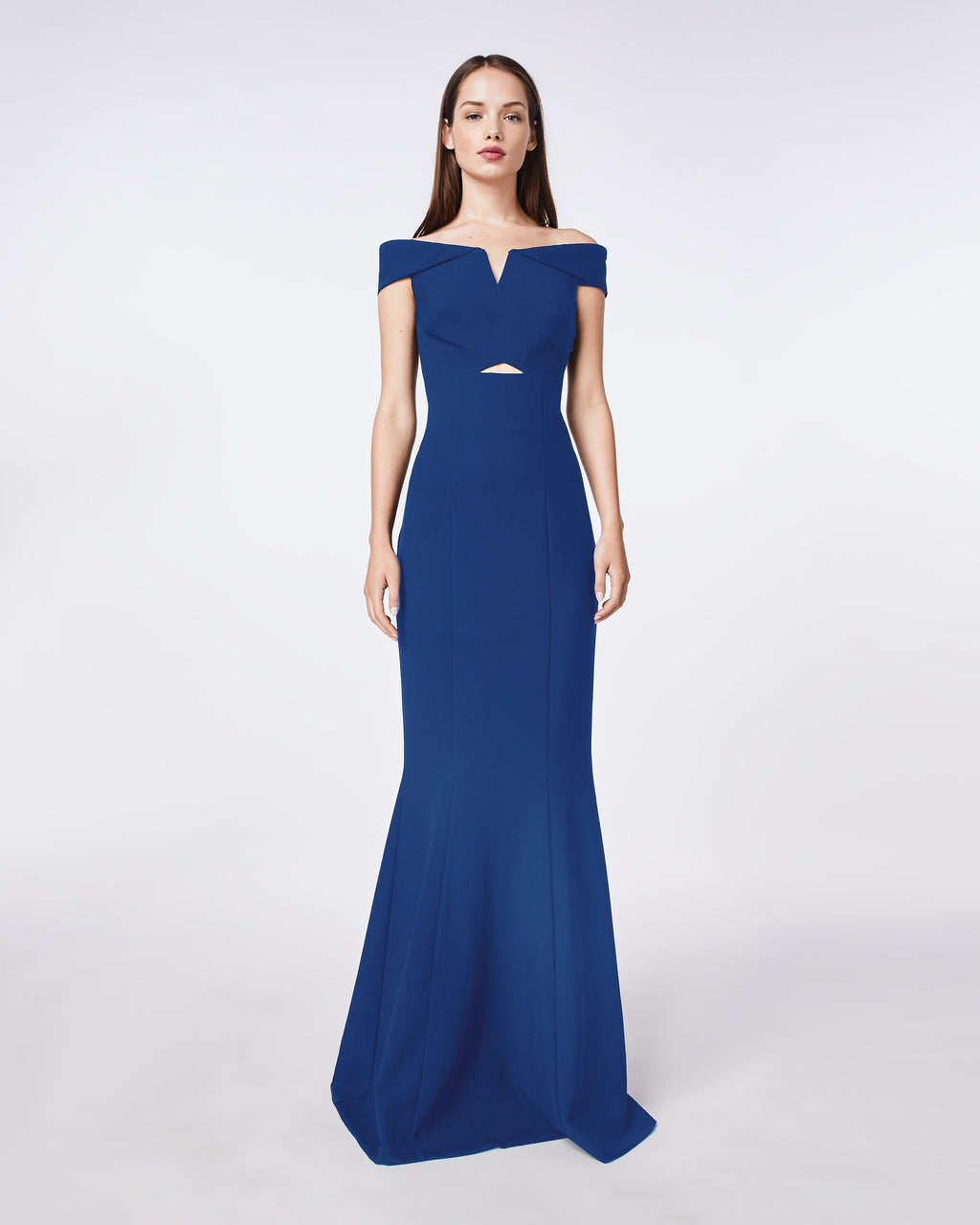 CF10279 - TECHY CREPE OFF SHOULDER V BAR GOWN - dresses - long - Sleek and sculptural, this dress skims your curves. The plunging neckline, front cut out, and off the shoulder detail ensure maximum evening allure.