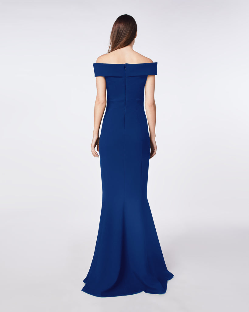 CF10279 - TECHY CREPE OFF SHOULDER V BAR GOWN - dresses - long - Sleek and sculptural, this dress skims your curves. The plunging neckline, front cut out, and off the shoulder detail ensure maximum evening allure. Alternate View
