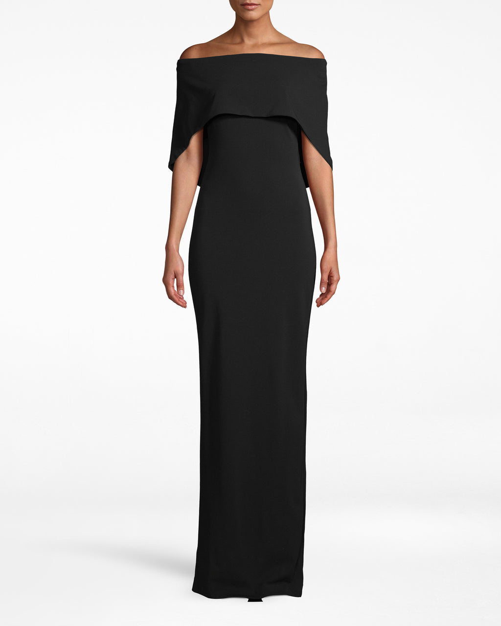 CF10307 - STRUCTURED HEAVY JERSEY CAPE GOWN - dresses - long - SERIOUSLY STRIKING. THIS OFF THE SHOULDER GOWN HASA CAPE TOP WITH A SKIRT THAT HITS FLOOR LENGTH. THE STRUCTURED HEAVY JERSEY MATERIAL WILL KEEP YOUSECURE ON THE DANCE FLOOR ALL NIGHT LONG. PAIR WITH HEELS AND A FUN CLUTCH.
