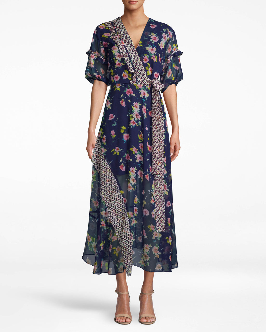 CF10312 - COSMO FLORA KIMONO DRESS - dresses - midi - THIS KIMONO INSPIRED DRESS WILL HAVE YOU TURNING HEADS ALL NIGHT. RUFFLED CAP SLEEVES AND AN ASYMMETRICAL HEM ADD TEXTURE. A SASH TIES THE WHOLE THING TOGETHER.