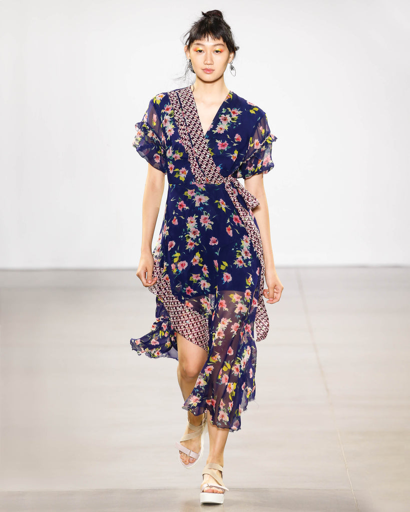 CF10312 - COSMO FLORA KIMONO DRESS - dresses - midi - THIS KIMONO INSPIRED DRESS WILL HAVE YOU TURNING HEADS ALL NIGHT. RUFFLED CAP SLEEVES AND AN ASYMMETRICAL HEM ADD TEXTURE. A SASH TIES THE WHOLE THING TOGETHER. Alternate View