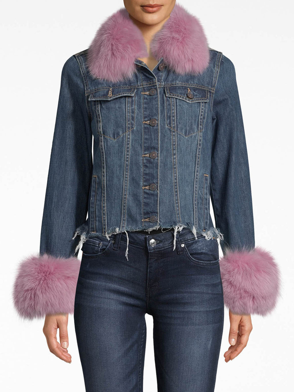 CF20020 - DENIM JACKET WITH FUR - outerwear - jackets - Your basic denim jacket needed an upgrade. Now, it's adorned with vibrant fur (choose from light pink or red) on the collar and sleeves. Our embroidered dragon is featured on the back, while the hem's frayed edges and slight crop are unexpected details.
