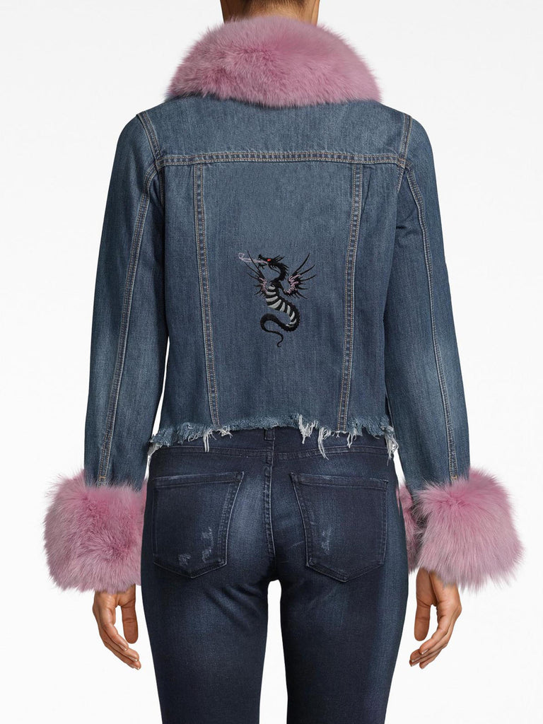 CF20020 - DENIM JACKET WITH FUR - outerwear - jackets - Your basic denim jacket needed an upgrade. Now, it's adorned with vibrant fur (choose from light pink or red) on the collar and sleeves. Our embroidered dragon is featured on the back, while the hem's frayed edges and slight crop are unexpected details. Alternate View