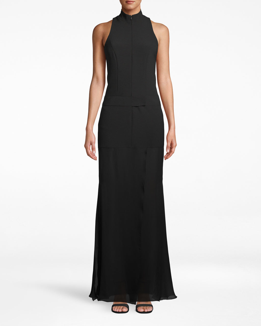 CF20076 - TECHY CREPE COMBO GOWN - dresses - long - Things just got interesting. Zip up the neck of this plunge gown to lengthen the silhouette, or zip down to show off skin - your choice. A belt-like waistline adds another dimension and the hem loosely fans out. Shift underneath.