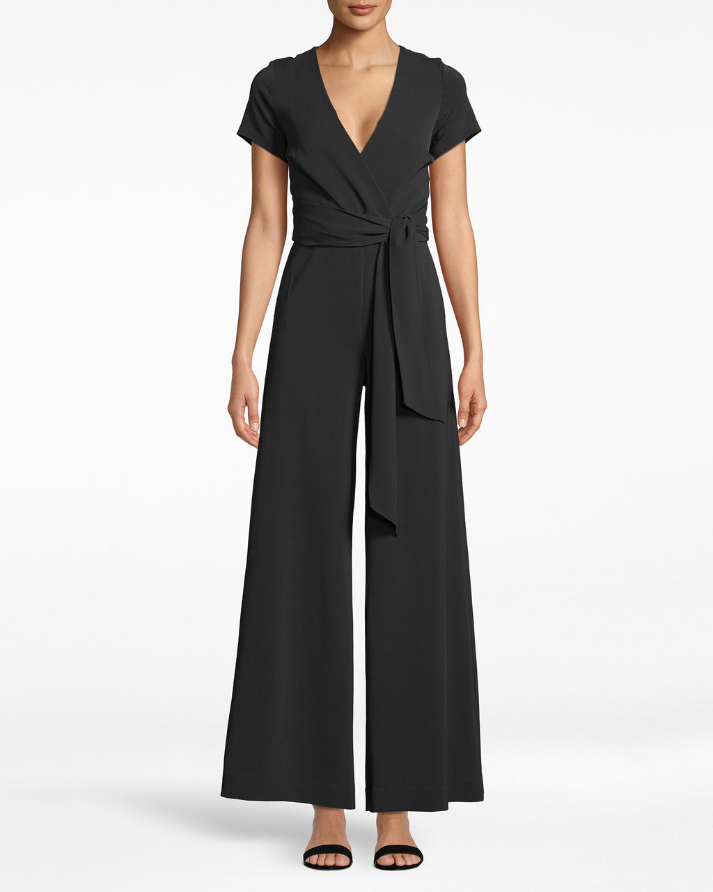 CF20160 - TIE FRONT JUMPSUIT - bottoms - pants - A PARTY IS CALLING, AND THIS JUMPSUIT ANSWERED. IT'S TAILORED WITH A TIE FRONT AND A HIDDEN FRONT ZIPPER AND BUTTON. THE V NECK SHOWS OFF JUST THE RIGHT AMOUNT OF SKIN, WHILE THE ANKLE SKIMMING WIDE LEGS FLARE OUT JUST THE RIGHT AMOUNT.