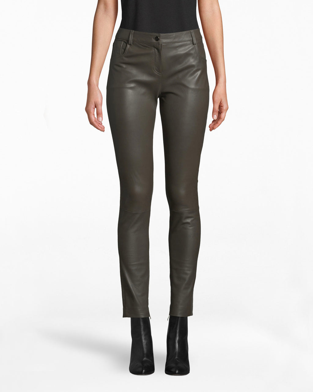 "CG10010 - LEATHER COMBO JEAN - bottoms - pants - A modern upgrade to denim. These Leather Combo Jeans have a skinny fitting leg while elevating your ""t-shirt and jeans"" vibe. They hit just above the ankle, so wear booties or heels."