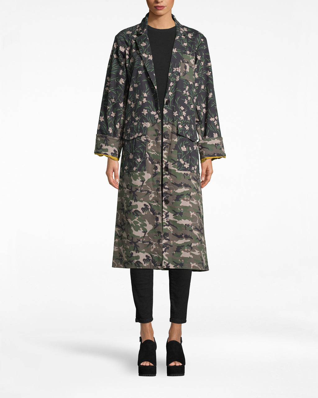 CH10062 - Tulip Camouflage Denim Oversized Jacket - outerwear - jackets - When your fav prints unite. This oversized jacket is the coolest combo of masculine and girly, camo and floral. It has front pockets and a deep v-neck.