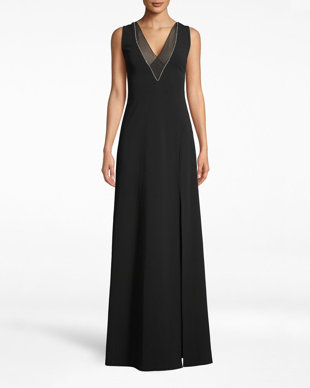 CH10063 - STRUCTURED HEAVY JERSEY V-NECK SLIT GOWN - dresses - long - Special occasions welcome. Dress up with this deep v-neck gown, which features a structured necklineembroidered with white. The leg slit adds a hint of rebellion. Exposed back zipper for closure.