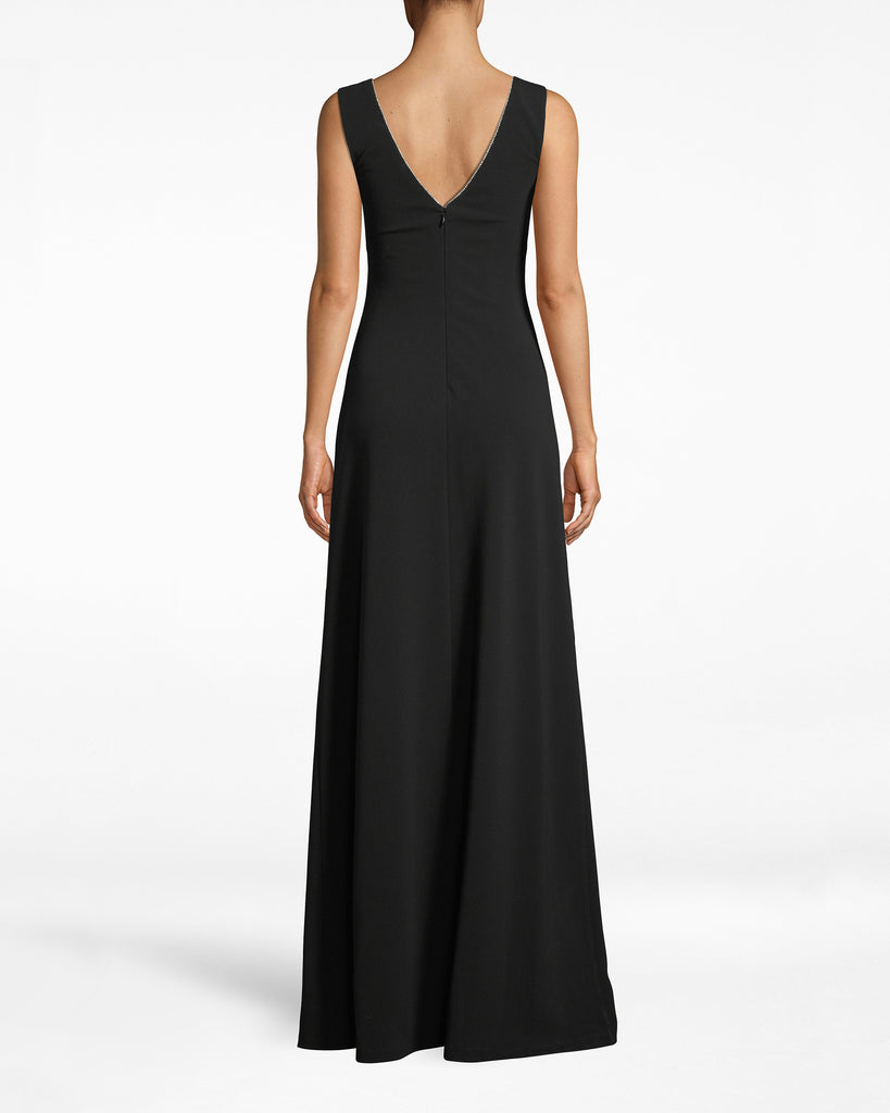 CH10063 - STRUCTURED HEAVY JERSEY V-NECK SLIT GOWN - dresses - long - Special occasions welcome. Dress up with this deep v-neck gown, which features a structured necklineembroidered with white. The leg slit adds a hint of rebellion. Exposed back zipper for closure. Alternate View