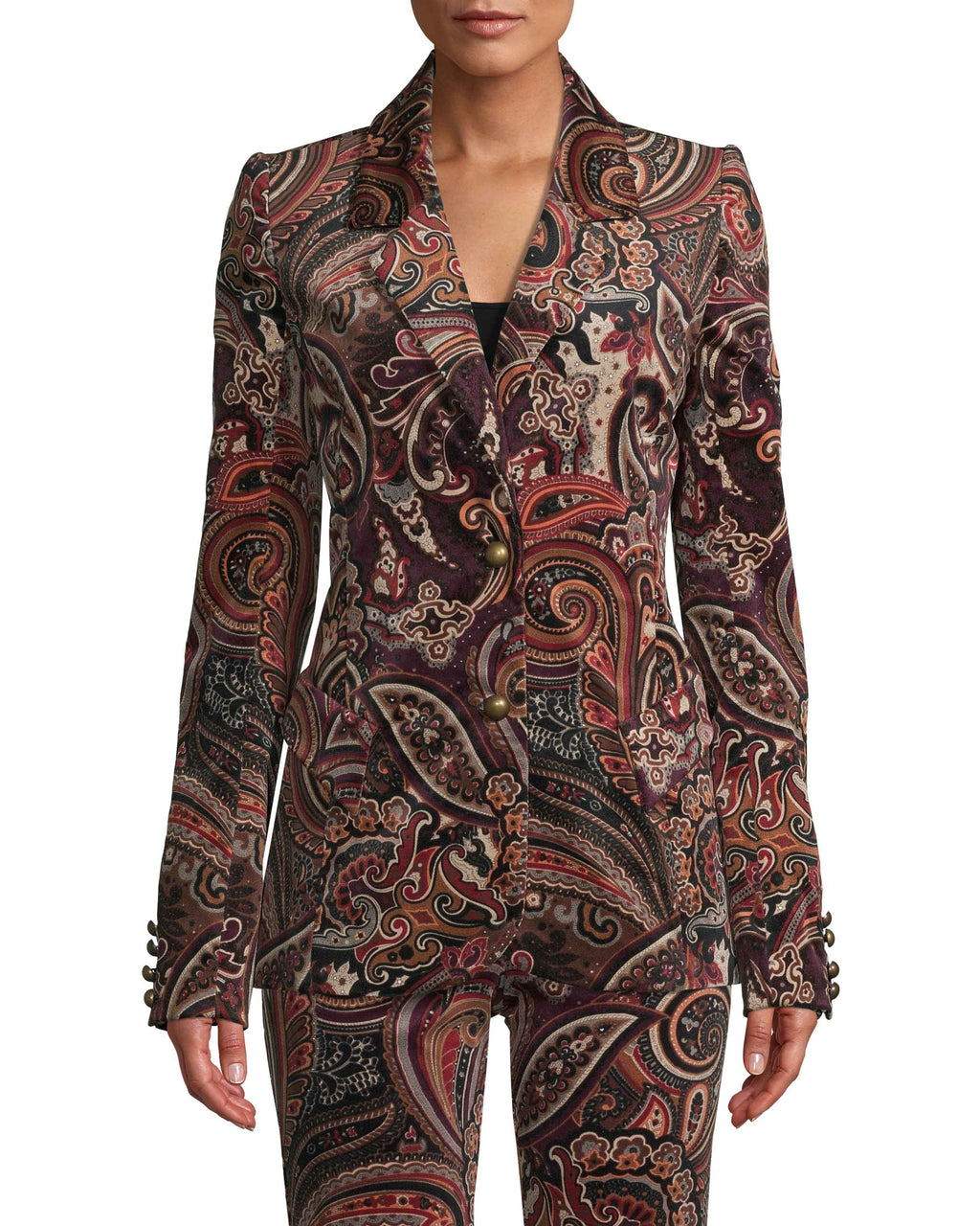 CJ18122 - PAISLEY VELVETEEN BLAZER - outerwear - blazers - This runway style is designed in a classic blazer silhouette but in statement velvet paisley. This fitted piece is perfectly tailored to slim and elongate your figure. Featuring matte gold buttons on the front and along the cuffs. Add 1 line break Stylist tip: Pair with the matching pants or skirt for a statement fit.