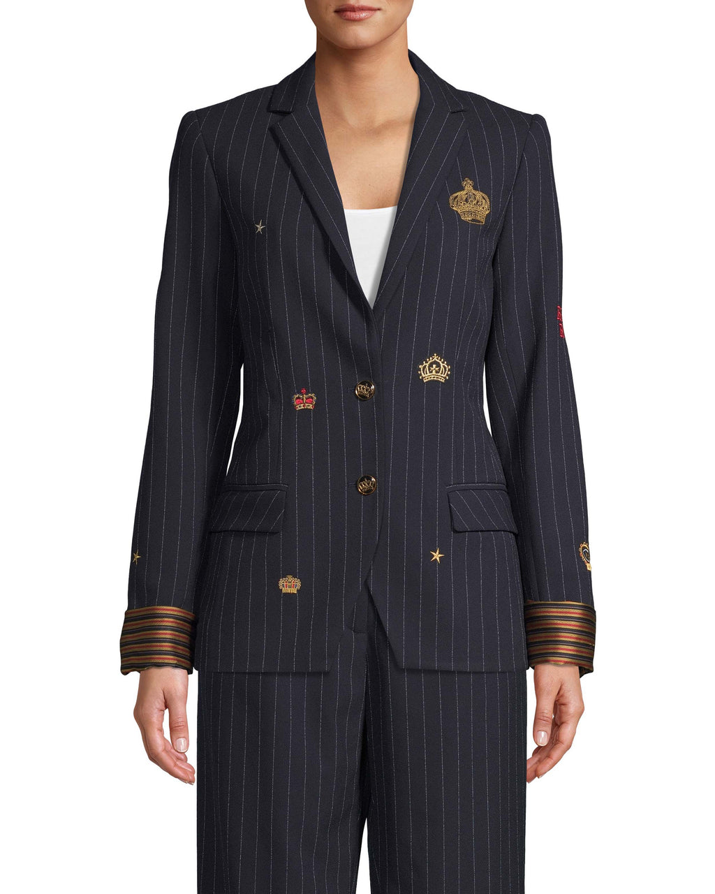 CJ18224 - EMBROIDERED PINSTRIPE BOYFRIEND BLAZER - outerwear - blazers - Everyday royalty. Our boyfriend blazer is designed in classic blue and white pinstripe, but features crown and star embroidery for extra details. Striped silk fabric lines the cuffs. Featuring front pockets and gold crown buttons. Add 1 line break Stylist tip: Pair with the matching pants for a matching set.