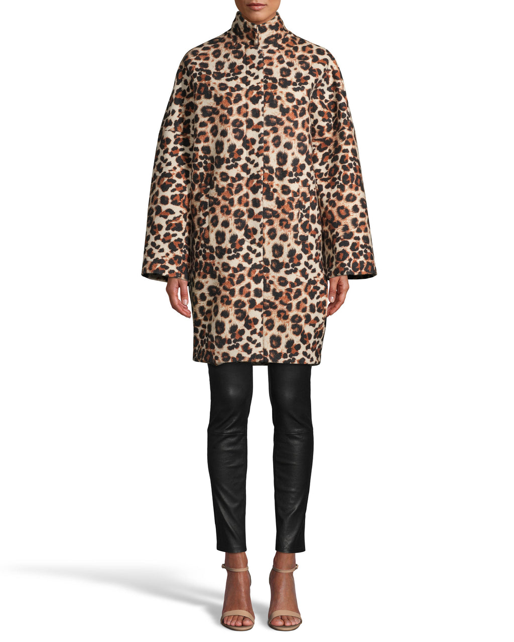 CJ18261 - LEOPARD PRINT WOOL COCOON COAT - outerwear - coats - A statement coat is a fall essential. This wool piece features a a high neck, concealed snap buttons and slight bell sleeves. Add 1 line break Stylist tip: Pair this timeless style with one of our cashmere sweaters and black pants for a chic look.