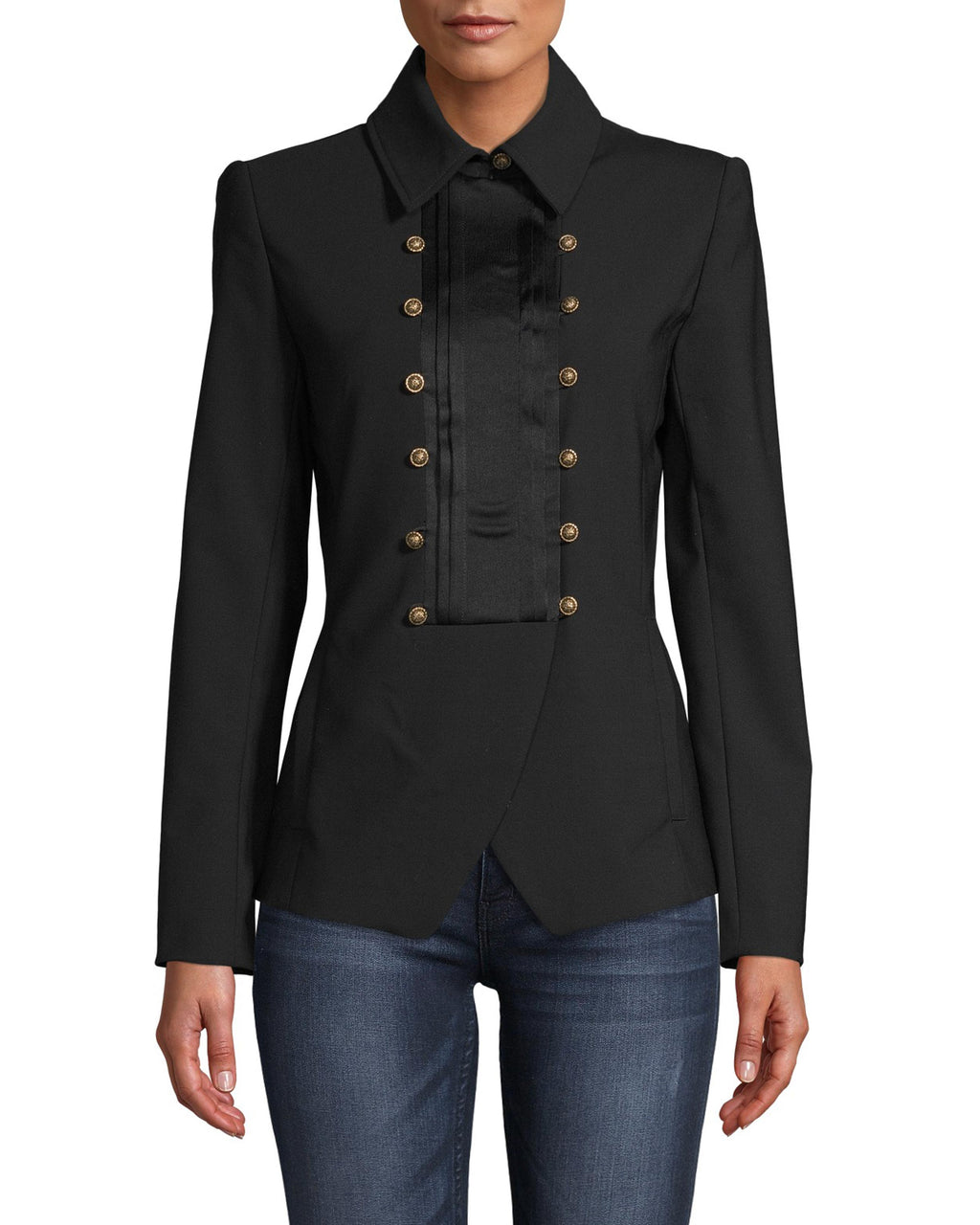 CJ18265 - TUXEDO DETAIL WOOL BLAZER - outerwear - jackets - No more boring blazers. This classic silhouette is updated with a tuxedo front with matte gold ornate buttons and silk details. Add 1 line break Stylist tip: Pair with black pants and a printed top like on our Fall 2020 runway.